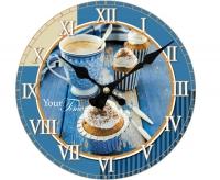 "Настенные стеклянные часы ""Круассановый завтрак"" Your Time"
