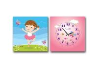 """Детские настенные часы на холсте """"Балерина"""""""