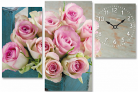 "Часы на холсте ""Розы"""