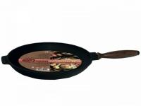 Сковорода чугунная литая с деревянной ручкой 24 см
