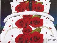 """Полуторное постельное белье, 3D """"Розы алые """""""